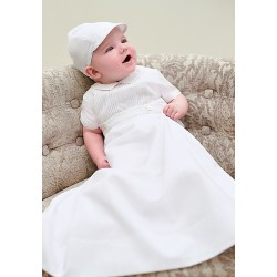 White Baby Christening Robe/Romper & Cap By Sarah Louise Style 001179S