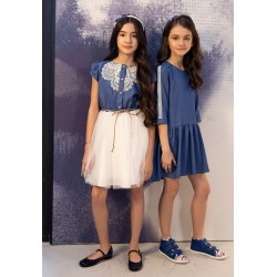 Ivory/Navy Confirmation/Special Occasion Dress Style 0SS-01A