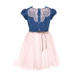 Pink/Navy Confirmation/Special Occasion Dress Style 0SS-01B