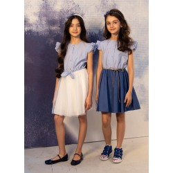 Ivory/Blue Confirmation/Special Occasion Dress Style 0SS-02