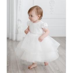 TETER WARM HANDMADE BABY GIRL IVORY CHRISTENING DRESS STYLE B72