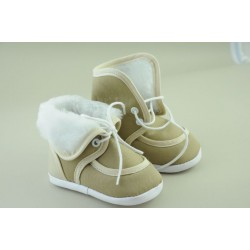 Baby Boys High Boots with Fur in Beige 113-1
