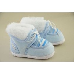 Baby Boy Striped Boots with Fur 113-2