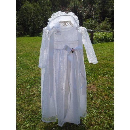 Louise Cotton Christening Gown with Lace