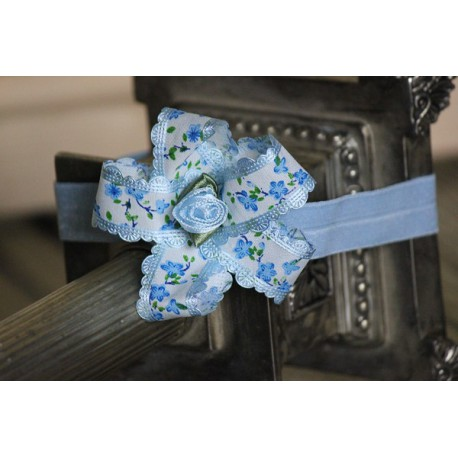 Blue Retro Twist Satin Ribbon Bow Headband