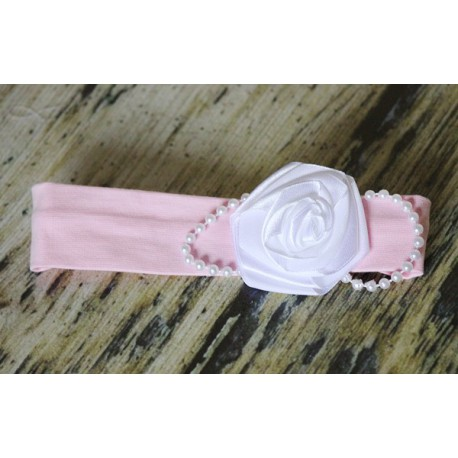 Pearl and Rose Headband for Baptism OB061