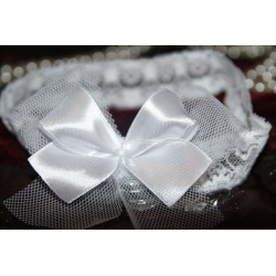 Baptism White Bow Lace Headband design 164 A