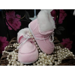 Baby Girl High Boots with Fur in Pink 113
