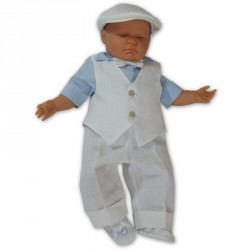 Linen Christening Outfit Otto Blue