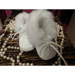 Baby Boy/Girl Winter White Velour Shoes
