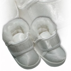 Baby Boys White Satin Christening Baptism Shoes M008 Winter