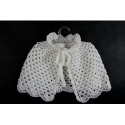 White Hand Knitted Baptism Cape Design 2
