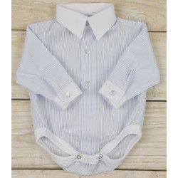 Light Blue Striped Shirt Bodysuit for Baby Boy