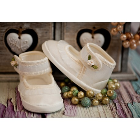 Christening Shoes M/Ballerina with Flounce and Rose Ivory