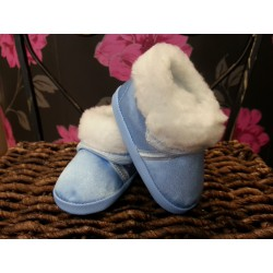 Winter Blue Christening Shoes with Fur M008