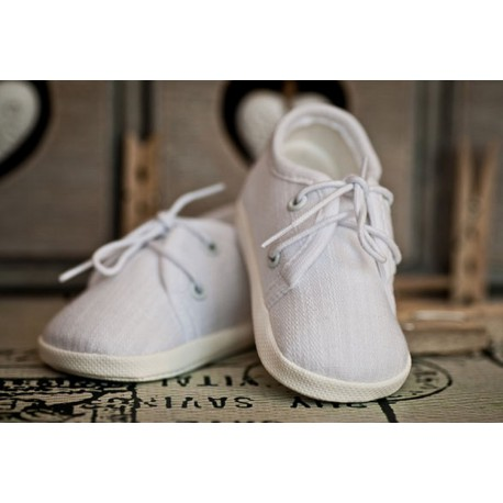 Linen Christening Shoes M005