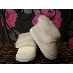 Winter Ivory Christening Shoes with Fur M008