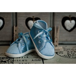 Satin Christening Shoes M006-3 blue