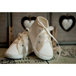 Satin Christening Shoes M006-3 Ivory