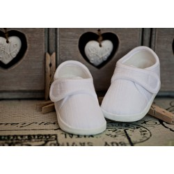 Baby Boys White Linen Christening Baptism Shoes M008