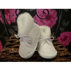 Lace baby Girls Christening Boots with Fur M015