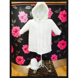 Baby Boys White Quilted Jacket and Hat Set