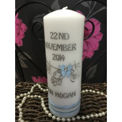 Personalised Boy Christening/Baptism Candles Style BB1