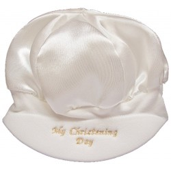 Baby Boys Satin My Christening Day Cap Hat in Ivory Style CRW1