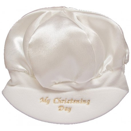 Baby Boys Satin My Christening Day Cap Hat in Ivory