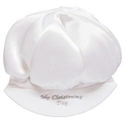 Baby Boys Satin My Christening Day Cap Hat in White