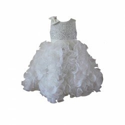 Ivory Sequin Ruffle Princess Flower Girl Dress by Sevva