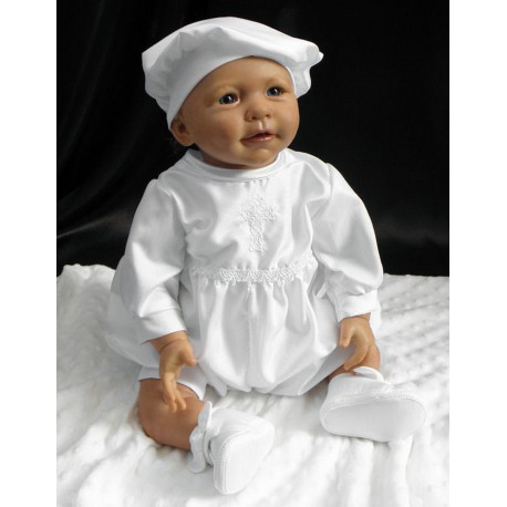 Eva Rose Baby Boys White Celtic Cross Christening Romper Suit and Hat Style TL233