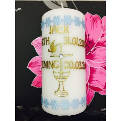 Personalized Baptism/Christening Candle Blue Cross Style BB2