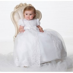 Sarah Louise White Bead and Flower Christening Gown and Bonnet Style 165S