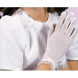 Lace communion gloves with diamond detailing