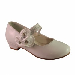 Girls White Communion / Flower Girl Shoes 3645-W-A-