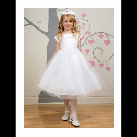 White Seeva flower girl dress Style KC1102