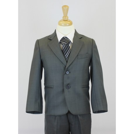 Boys Dark Grey 5 Piece Communion Suit Style 506