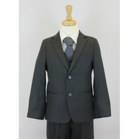 Boys Shinny Dark Grey 5 Piece Communion Suit Style 509