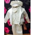 6 piece satin ivory christening suit