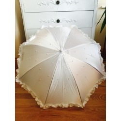 White Satin First Communion Parasol With Pearls And Ruffles Style 711SP by Little People