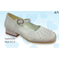 Mireio Couture snow white satin communion/flower girl shoes Style Gabrielle
