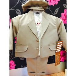 Brown striped 6 piece christening/Wedding suit