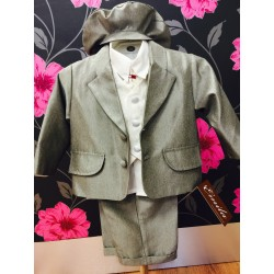 Dark grey 6 piece christening suit