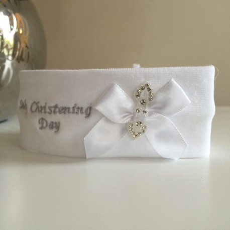 My Christening Day Cotton Headband in White