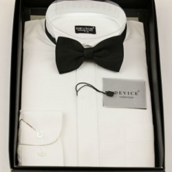 Boys Formal White Suit Shirt with Black dicky bow