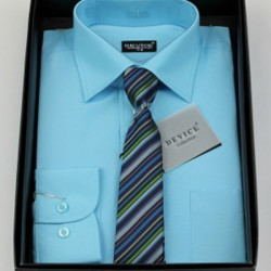 Boys Formal Aqua Suit Shirt with Tie