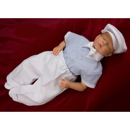 Linen Checkered Shirt Bodysuit Set for Baby Boy Adam