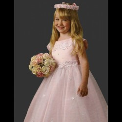 Sevva Pink Girl Beaded Flower Girl Dress 1102