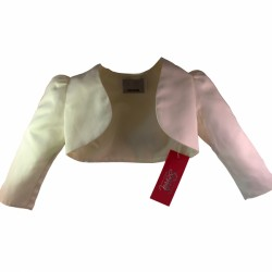 Ivory Satin Long Sleeve Girls Bolero by Sevva